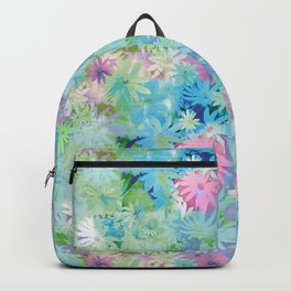 A bed of flowers. Backpack