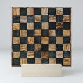 Chequered Past, Carved Wood Chess Board Mini Art Print