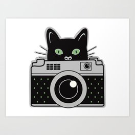 Black Cat and Camera Art Print
