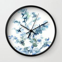 blue fresh leaves plant art Wall Clock