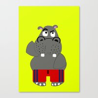 hippo Canvas Prints featuring Hippo by lescapricesdefilles