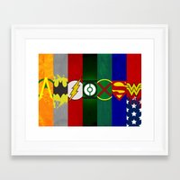 justice league Framed Art Prints featuring Justice League of America by Some_Designs