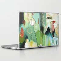 "flora bowley Laptop & iPad Skins featuring ""Fly Home"" Original Painting by Flora Bowley by Flora Bowley"