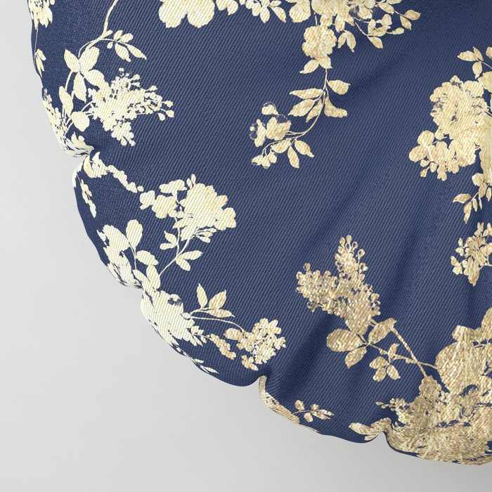 Elegant vintage navy blue faux gold flowers Floor Pillow