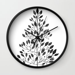 black sprig drawn in ink Wall Clock