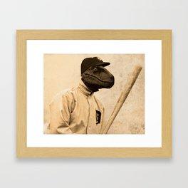 Baseball Velociraptor Framed Art Print