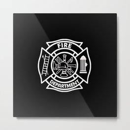 Firefighter Pillow-black Metal Print