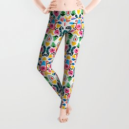 Colorful oriental watercolor floral pattern. Leggings