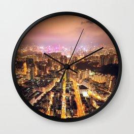 Night street in Hong Kong Wall Clock