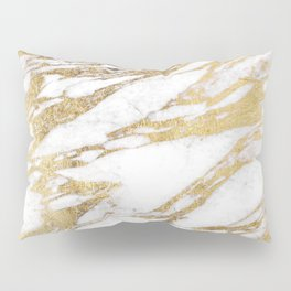 Chic Elegant White and Gold Marble Pattern Pillow Sham