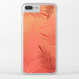 Living coral palm leaves Clear iPhone Case