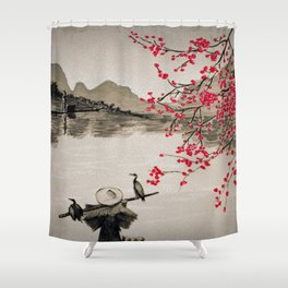 Japan Crane Fishing Shower Curtain