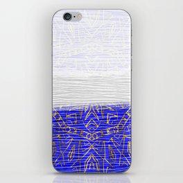 385 Blue Gold White Abstract Mandala iPhone Skin