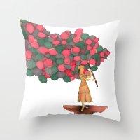 ballon Throw Pillows featuring Ballon Girl by Kwelts1