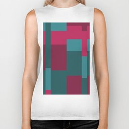 Squares II in Blues and Pinks Biker Tank