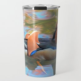 Beautiful Mandarin Duck at the Pond Travel Mug