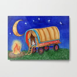 Gypsy Chicken in a covered Wagon Metal Print