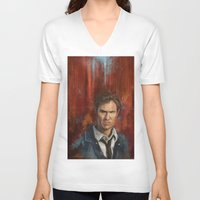 true detective V-neck T-shirts featuring True Detective by LucioL