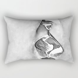 Girls Love - sexy lesbian girls kissing, black and white kinky erotic, hot gay woman Rectangular Pillow