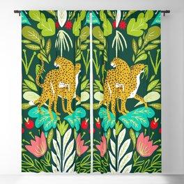 Cheetah Couple Illustration, Wild Cat Jungle Nature, Mandala Painting, Wildlife Tropical Tiger Blackout Curtain