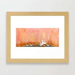 Gooses day out on the pond Framed Art Print