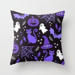 Halloween party illustrations purple, black Throw Pillow