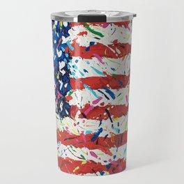 Born on the 4th of July, US Confetti Flag Travel Mug