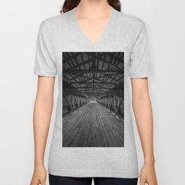 Inside Swift River Covered Bridge Conway New Hampshire Black and White Photography Unisex V-Neck