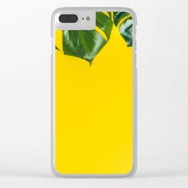 Tropical leaves on yellow background, space for text Clear iPhone Case