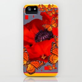 Abstract Red Poppy Monarch Butterflies Yellow-Grey iPhone Case
