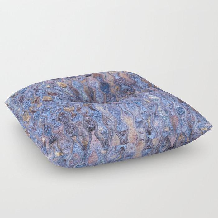 Warbled Blue Floor Pillow