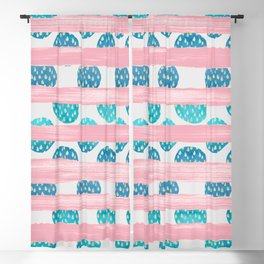 Watercolor geometric pink teal blue brushstrokes polka dots Blackout Curtain
