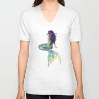 bathroom V-neck T-shirts featuring Mermaid by Sam Nagel