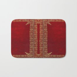 Red and Gilded Gold Book Bath Mat