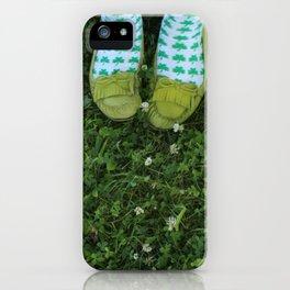 Shamrock Socks in a Green Clover Field iPhone Case