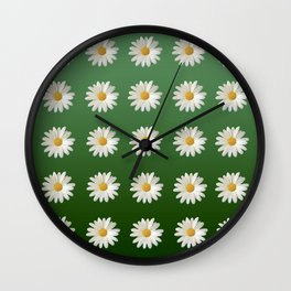 Daisies (green background) Wall Clock
