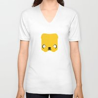 jake V-neck T-shirts featuring Marshmallow Jake by Oblivion Creative