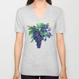 Watrercolor grapes Unisex V-Neck