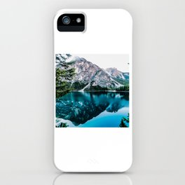 Lake and Mountain Under White Sky iPhone Case