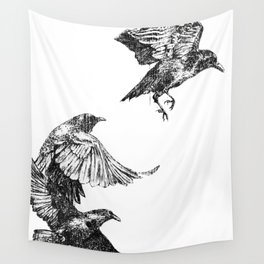 Crows in flight Wall Tapestry