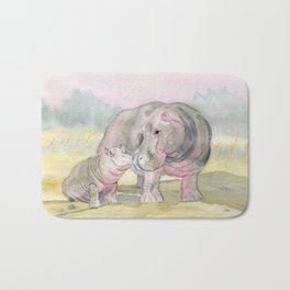 Colorful Mom and Baby Hippo Bath Mat