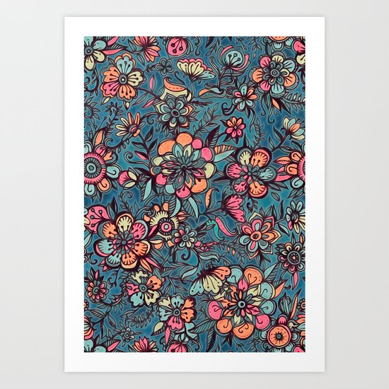 Sweet Spring Floral - melon pink, butterscotch & teal Art Print