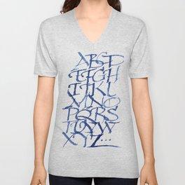 Calligraphy capitals Unisex V-Neck