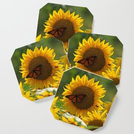 The butterfly the bee and the sunflower Coaster