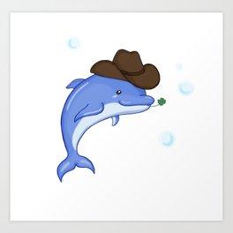 Lucky Dolphin Art Print