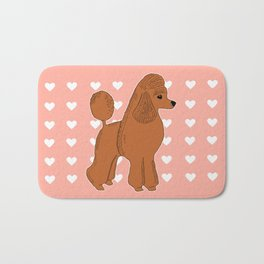 Red Apricot Poodle with Peach Pink & Hearts Bath Mat