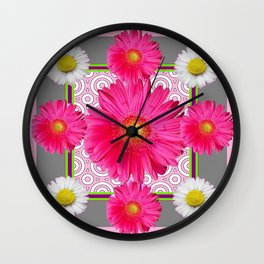 Fuchsia Gerbera & Shasta Daisy  Pink-Grey Pattern Art Wall Clock