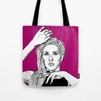 ellie goulding Tote Bags featuring Ellie Goulding by Sharin Yofitasari