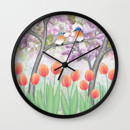 eastern bluebirds, tulips, & lilacs Wall Clock