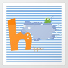 h for hippo Art Print